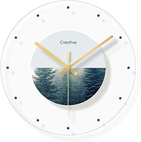 CLOCK Reloj, reloj de pared, reloj despertador, vidrio, reloj mudo de dormitorio, habitación infantil, reloj de dibujos animados con fondo de paisaje floral / 12 pulgadas (patrón: C)