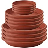 QCYOHO 12 Pack Plant Trays Plastic Plant Saucer Flower Plant Pot Saucer Heavy Duty Sturdy Drip Trays for Indoor & Outdoor Plants (5.5''/8.5''/9.5'', Brown)