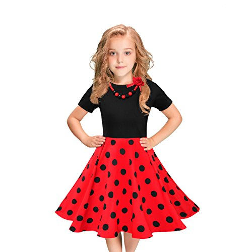 Tao-Ge Girls Vintage Dress Polka Dot Swing Retro Rockablilly Dresses Size 6-12 Girls Party Dresses with Necklace