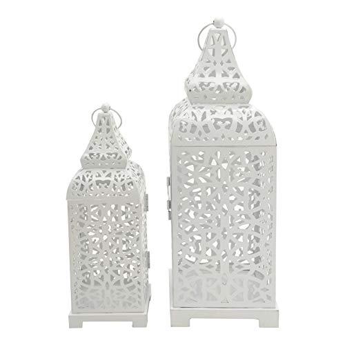 Rebecca Mobili 2 pz Portacandela Lanterne Etniche Metallo, Bianco, per Candele Fiori, Giardino Salotto - Misure: 39 x 14,5 x 14,5 cm (HxLxP) - Art. RE6551