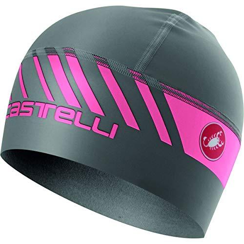 Castelli Arrivo 3 Thermo Skully Cap Dark Gray/Giro Pink, One Size
