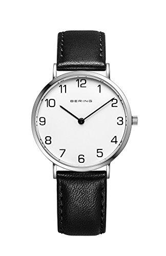 BERING Damen Analog Quarz Classic Collection Armbanduhr mit Kalbsleder Armband und Saphirglas 13934-404