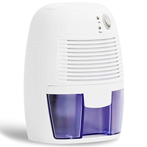 SUPER DEAL Dehumidifier for Small to Medium Rooms - Effortless Humidity Control - 1500 Cubic Feet - Auto Shut Off - Reduce Odor - Quiet Compact and Portable 500ml (16 oz) - Ideal for Basement, Bedroom