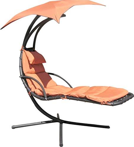 ALL-JingHong Sonnenliege verstellbar Outsunny Gartenliege Relaxliege mit Sonnendach Garten Stahl Grau 200 * 103 * 180cm Orange JH-1121