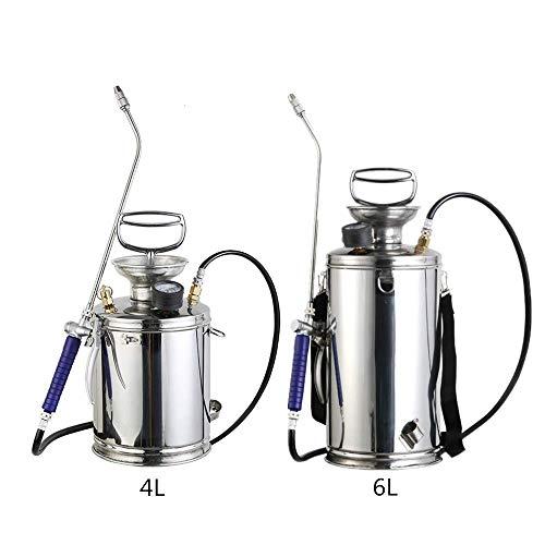 Draagbare hogedrukreiniger Pomp Sprayer 4L / 6L, Tuin drukspuit Hand Control met een manometer, 304 roestvrij staal, geschikt voor thuis schoonmaken,4L