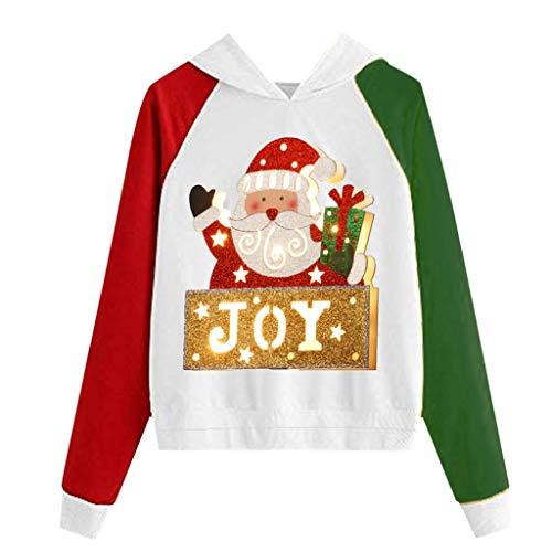 Damen Hoodie Sweatshirt Tops Langarm Shirts Mode Lustig Weihnachten Weihnachtsmann Muster Beiläufiger Pullover Locker sitzender Sweater Party Täglich Tunika Karneval Festival BluseGelb XL
