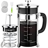 French Press Coffee and Tea Maker(34oz),304 Stainless Steel Coffee Press with 4 Filters Screen-100% No Residue -German Heat-Resistant Borosilicate Glass- BPA FREE-Dishwasherable,Silver