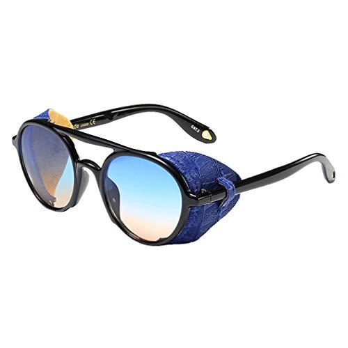 JiXuan Fashion Vintage SteamPunk Punk Style Gafas de sol Redondas de cuero protector lateral Gafas de sol UV400