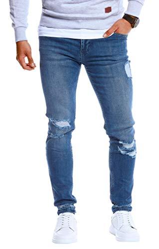 Leif Nelson Herren Jeans Hose Slim Fit Denim Blaue Schwarze Destroyed Jeanshose für Männer Coole Jungen weiße Stretch Freizeithose Sommer Winter zerrissen Slim Fit LN5419 Blau W32/L30