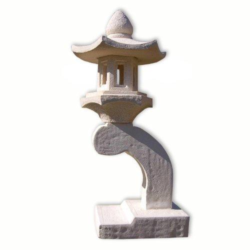 Wilai Steinlampe Gartenlampe Rankei asiatische Steinlaterne aus Sandsteinguss Weiss 76 cm hoch frostfest