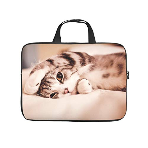 Bolsa para portátil con diseño de gato resistente a los arañazos, para universidad, trabajo y negocios.