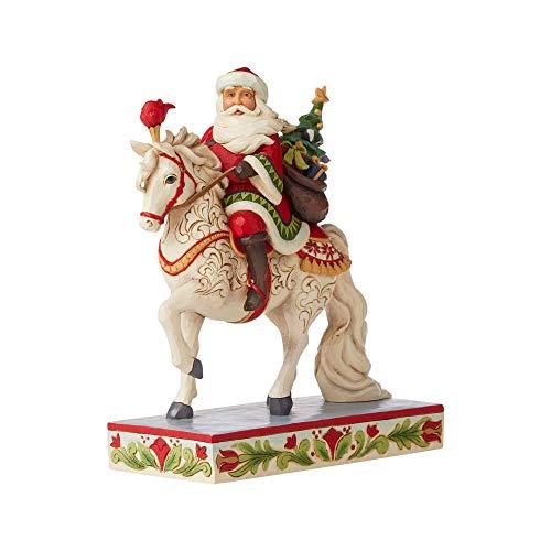 Enesco Jim Shore Heartwood Creek Santa Riding White Horse Figurine, 9-Inch Height