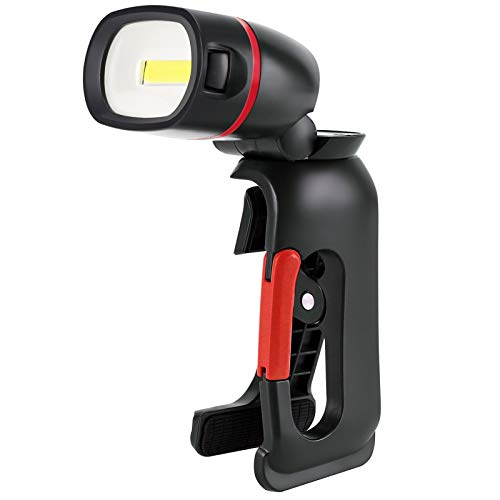 Linterna con Abrazadera de 210 Lúmenes COB LED Herramienta Luz Clamplight Rotación 360° Luz de Trabajo Lámpara de Inspección con Clip Basculante, Alimentado por 3 Batería AAA (Pilas no Incluida)