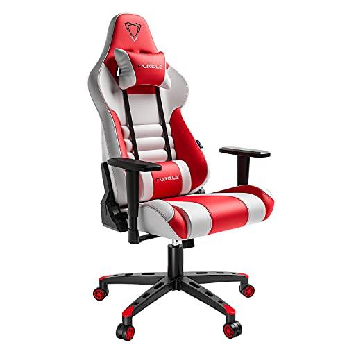 Silla para videojuegos de escritorio giratoria con reposacabezas y almohada lumbar ajustable, altura de asiento/reposabrazos ajustable para jugadores, color blanco y rojo