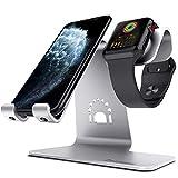 Bestand 2 in 1 iPhone/iPad/Apple watch対応 スマートフォン充電クレードル アップルウォッチ充電スタンド (シルバー)