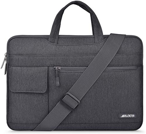 MOSISO Laptop Briefcase Shoulder Bag Compatible with 13 inch MacBook Air A2337 M1 A2179 A1932/MacBook Pro A2338 M1 A2251 A2289 A2159 A1989 A1706, Messenger Polyester Flapover Sleeve Case, Space Gray