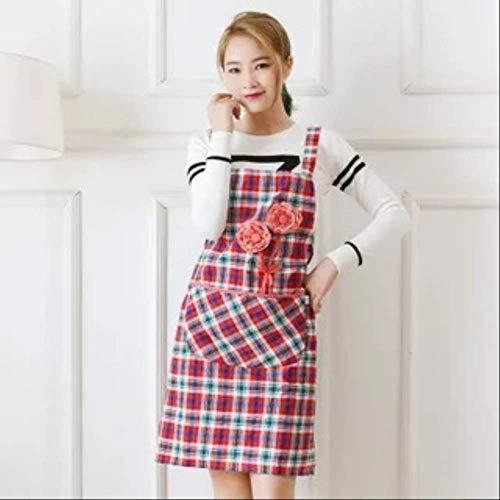 mhde Schürzen Baumwollschürze Für Hausfrau Küche Mit Tasche Plus Size Erhältlich Doris Floral Rose Damen SchürzeRot