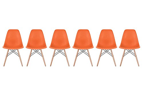 Inspirer Studio Set of 6 New 17 inch SeatDepth Eames Style Side Chair with Natural Wood Legs Eiffel Dining Room Chair Lounge Chair Eiffel Legged Base Molded Plastic Seat Shell Top Side Chairs (Orange)