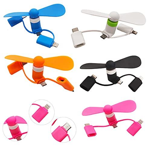Nesloonp - Mini ventilador USB, 5 unidades, portátil, 3 en 1, conector para teléfono móvil OTG para iPhone, tipo C, smartphones Android