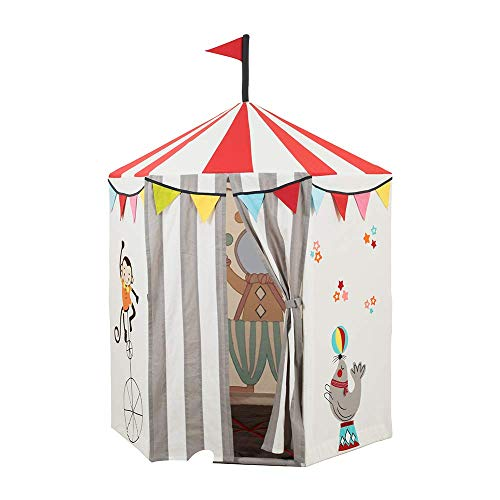Role Play Deluxe Circus Tent Playhouse Premium Indoor and Outdoor Circus Play Tent for Kids - 100% Cotton with Durable Steel Frame - Includes Plush Juggling Pins and Photo Booth Wall Ages 3 & up