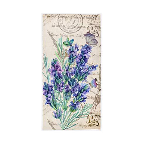 Granbey Retro Lavendel Stempel Handtücher – Vintage Eiffelturm Badezimmer Handtuch Aquarell-Schmetterling kleines Badetuch ultraweich hoch saugfähig lila Blumen Küche Gäste Fingerspitzen Handtücher