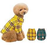 ANSIMITE 犬服 バーバリー風パーカー ファッション 格子 紳士スーツ 犬シャツ 洋服 パーカー チェックシャツ 小型犬 中型犬 (XXL, イエロー)