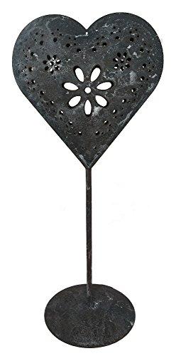 Deko Herz aus Metall 28,5cm - Herz auf Standfuß - Metallherz zum hinstellen - (rusty)