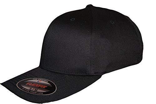 Yupoong Flexi Adapter Noir Baseball Ajusté Capuchons, Flexfit Verni Compatible avec Chapeaux, Urbain Hip Hop - Noir, L-XL 58-60CM