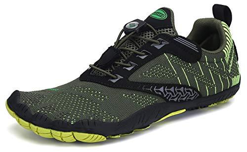 SAGUARO Hombre Mujer Barefoot Zapatillas de Trail Running Escarpines de Deportes Acuaticos Transpirable Calzado Minimalista para Fitness Entrenamiento Gimnasio, Verde 39 EU