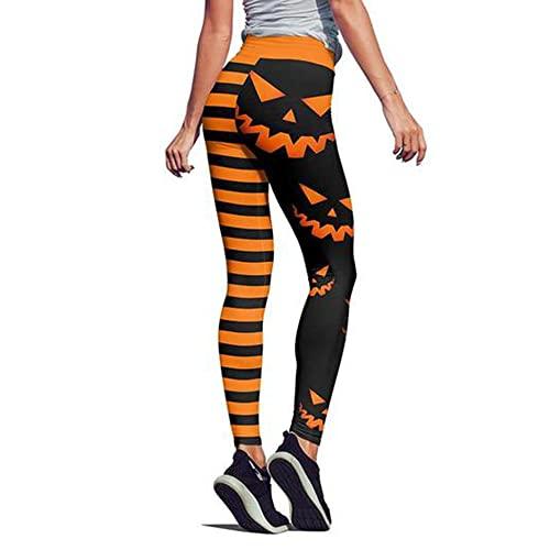 Lapa Donne a vita alta Halloween zucca testa strisce stampa legging Slim Yoga pantaloni lunghi per Sportwear Fitness Running, Zucca arancione., S