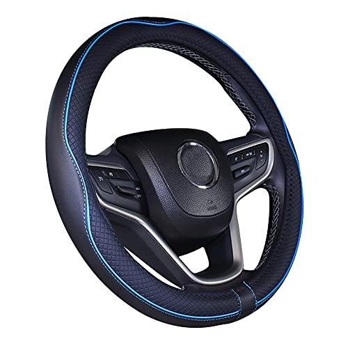 Couvre volant de voiture en cuir microfibre 15 pouces noir bleu