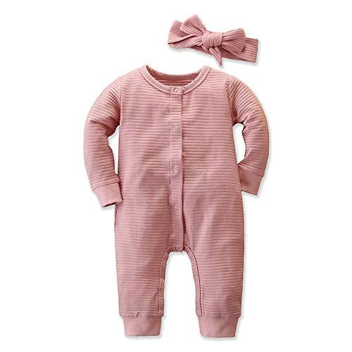 TUEMOS - Juego de 2 trajes de otoño para bebé recién nacido, ropa dulce de manga larga con sombrero Rosa-2. 6 mes