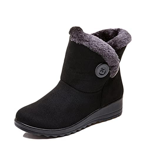 Botas cálidas para mujer, botas planas con tacón de cuña, ligeras, cortas, de felpa, cómodas, cómodas, ligeras, botines de otoño