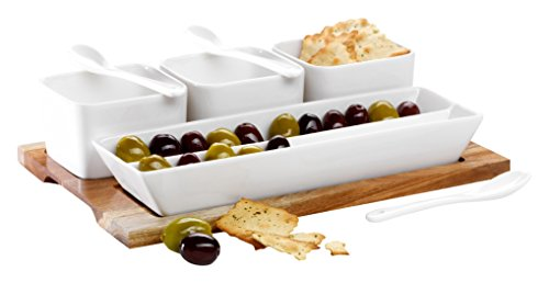 Domestic By Mäser 927935 Snack ing Set 8 Pezzi su Un Legno Tray, Un Vero Eye Catcher.