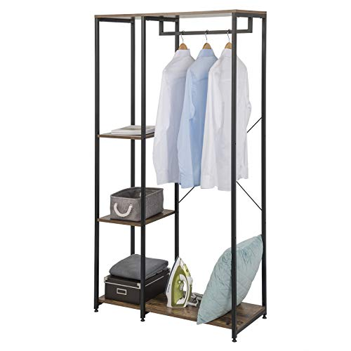 EUGAD Heavy Duty Clothes Hanging Rail Metal Clothing Coat Stand Garment Rail Wardrobe for Dress Shirt with Wooden Storage Shoe Rack Shelves Unit Vintage