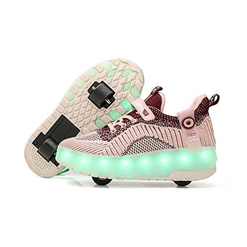 Mrzyzy Niños Niñas Zapatos de Patines de Ruedas LED con Ruedas 7 Colores Zapatillas con luz LED Zapatillas de Skate técnicas de Doble Rueda, Zapatillas de Gimnasia para Exteriores con Carga USB