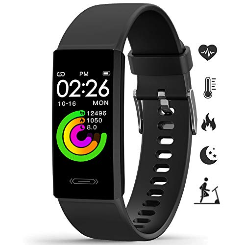 2021 Activity Fitness Tracker, MorePro Temperature Heart Rate Blood Pressure Monitor IP68 Waterproof Sport Smart Watch,Sleep Tracking Pedometer Calories Counter Health Bracelet for Women Men Kids