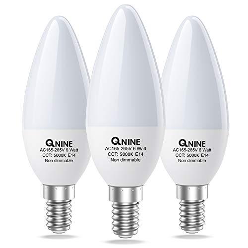 QNINE E14 LED Kaltweiß, 5000K, 6W(ersetzt 40W-50W Glühbirne), 540 Lumen, Nicht Dimmbar, Ersatz für Energiesparlampe, 3 Stück, LED-kerzenbirnen/-Lampe, 165-265V AC [Energieklasse A+]