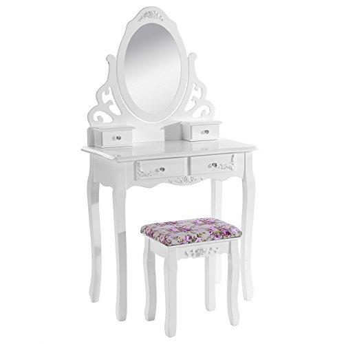WOLTU MB6024cm Tavolo da Trucco Specchiera con Sgabello Tavoli Cosmetici Toeletta con 4 Cassetti in Legno Specchio Inclinabile Bianco