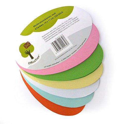 OfficeTree ® Moderationskarten oval 19x11 cm - 250 St. 6 Farben - unverzichtbar für professionelle Präsentation Gesprächsleitung Moderation - Zur Unterstützung im Unterricht Meeting Büro