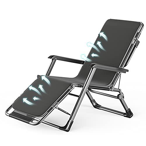 Tumbona sillón plegable, sillón reclinable hogar ajustable, tumbonas portátil exteriores balcón oficina, con almohadillas algodón y almohadillas antideslizantes para los pies, soporta 200kg(Color:B)