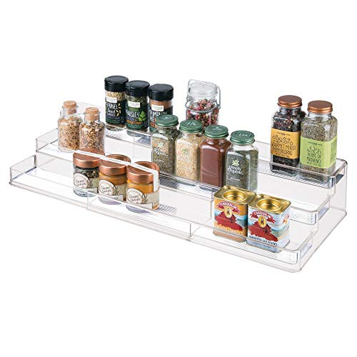 mDesign Large Plastic Adjustable Expandable Kitchen Cabinet Pantry Shelf Organizer/Spice Rack with 3 Tiered Levels of Storage for Spice Bottles Jars Seasonings Baking Supplies  Clear