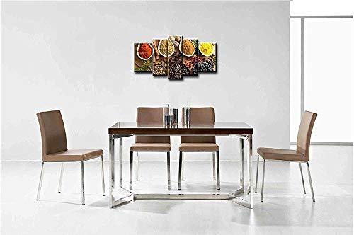 RuiYa Wall Art Rahmen 5 Wand Segeltuch Gemälde 150x80cm Herzhaftes Curry-Pulver-Gewürz aus rotem Pfeffer kinderzimmer Poster Kunst Wandmalerei Gemälde Mural Gedruckt Wandkunst Schlafzimmer Wohnzimmer