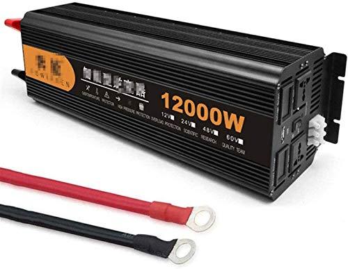 ZLZH Inversor de alimentación 12000W Inversor Convertidor de Voltaje de sine Puro inversor de Corriente inversor DC 12V 24V CA 230V Convertidor con 2 Enchufe de CA y Pantalla LED para automóvil