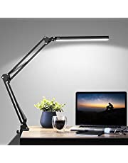 LED Desk Lamp, ZHUPIG Swing Arm Desk Lamp with Clamp, Metal Architect Light with 3 Lighting Modes & 10 Level Dimmer Eye-Caring for Home Office Study Reading Drafting
