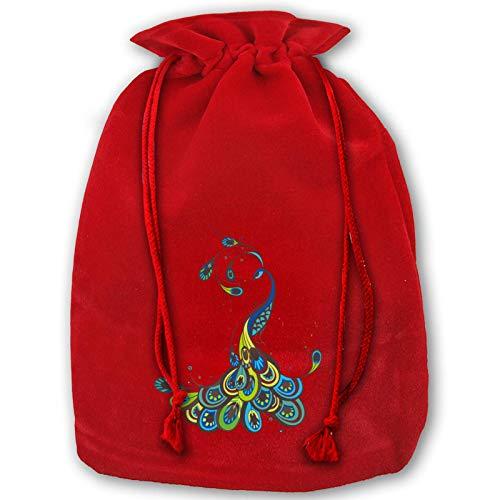 Hangdachang Weihnachtliche Tasche mit Kordelzug, Motiv: Mops mit Pfauenmotiv, für Geburtstagsparty