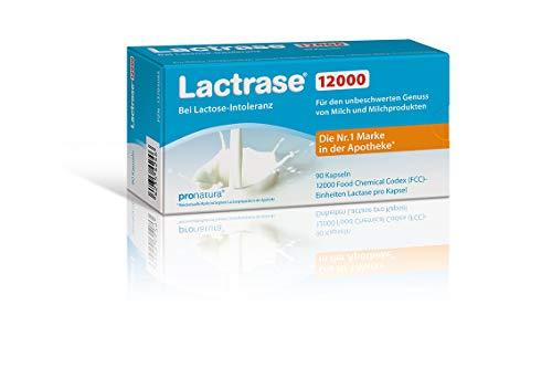 Lactrase 12000 Kapseln bei Lactoseintoleranz – 90 Laktase-Kapseln für den Genuss von Milch & Milchprodukten bei Laktoseunverträglichkeit; Vegan