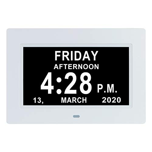 LaMi Products 7 Inch Digital Calendar Day Date Clock - 12 Alarm Options,Extra Large Non-Abbreviated Day&Month Memory Loss Clock for Seniors,Dementia,Impaired Vision (White)