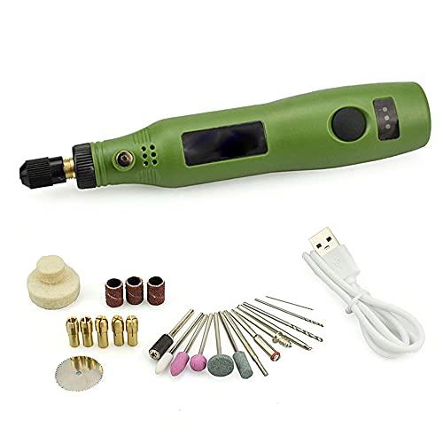 Mini Amoladora Eléctrica 3.7V Amoladora Eléctrica, Herramienta Rotativa USB Recargable con 24 Accesorios Multiherramienta para los DIY trabajos de Pulido Abrasivo y Corte,Verde