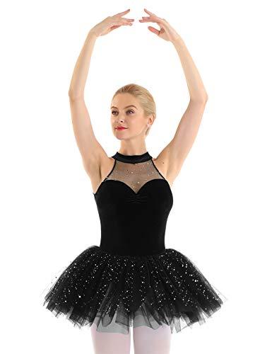 YiZYiF Damen Ballettkleid Pailletten Ballettanzug Samt Top mit Tütü Rock Mesh Ballettrock Ballett Trikot Turnanzug Gymnastik Ballerina Performance Tanz-Kostüm Schwarz Small
